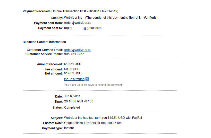 Payment from GetGoodLinks
